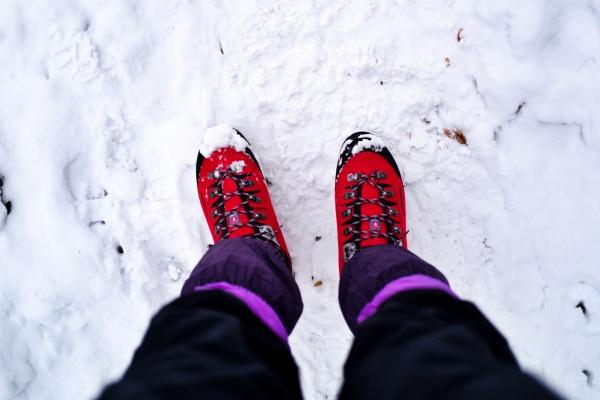 厳冬起用登山靴で登ってみる。