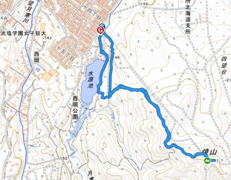 西岡水源地公園駐車場から焼山へのルート。