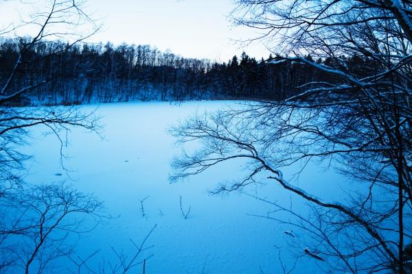 夕暮れの西岡水源地公園。