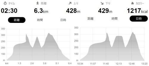 起伏のあるコースです。GPSの調子が悪くグラフが変です(^^;