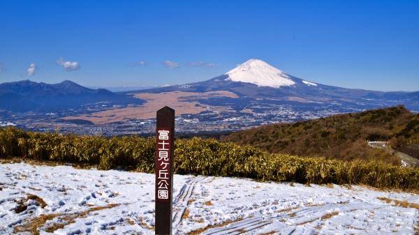 富士見が丘公園からパシャリ。そり滑りの跡もあった。