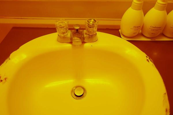洗面台は少し古めだが清潔感あります。
