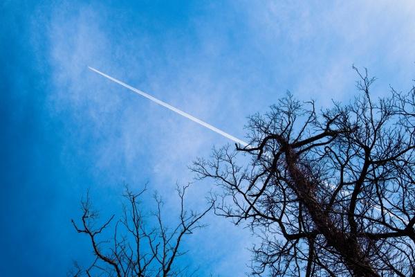 大空に伸びる飛行機雲。