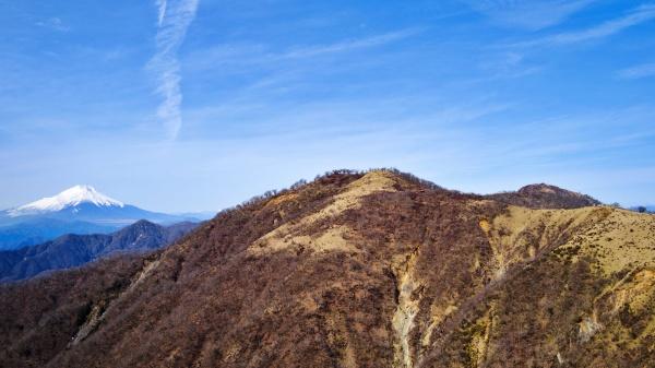 左から富士山、不動ノ峰、蛭ヶ岳。