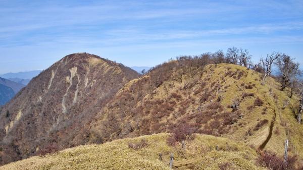 左手にあるピークが蛭ヶ岳。