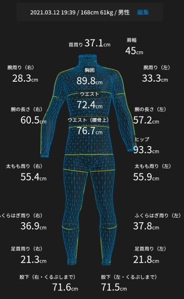 2021年に計測した私のサイズデータ(168㎝61キロ)