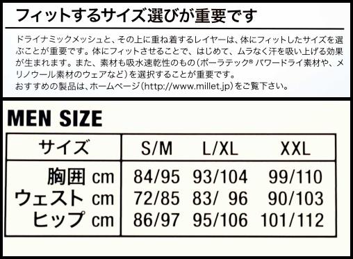 ミレーのサイズ表