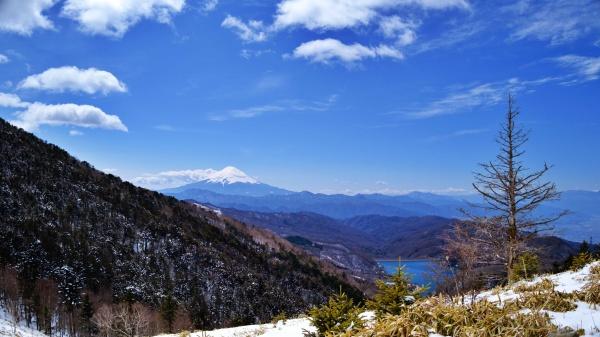 雪をかぶった富士山が見える。