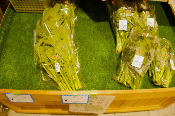 私はのらぼう菜(100円)を現金で購入。