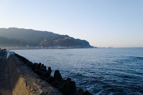 金谷港から見える太平洋。