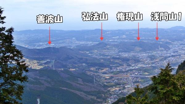 右の浅間山からスタートし縦走していきます。※下山時に撮影。