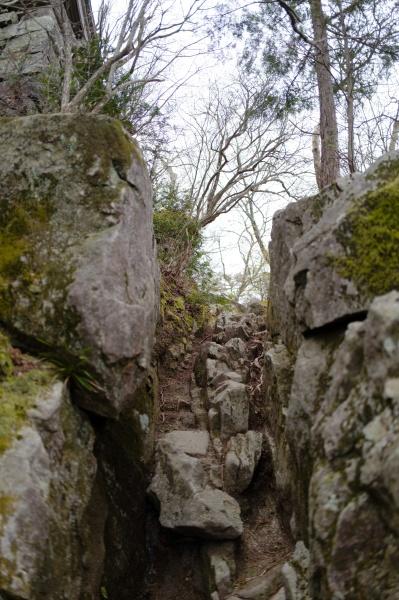 岩の間をすり抜けて進む。