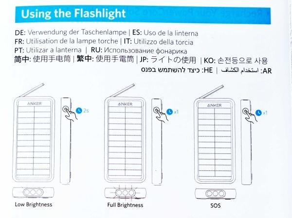 3つのライトモード 明るさの異なるライトモードやSOS用のフラッシュモードを搭載。