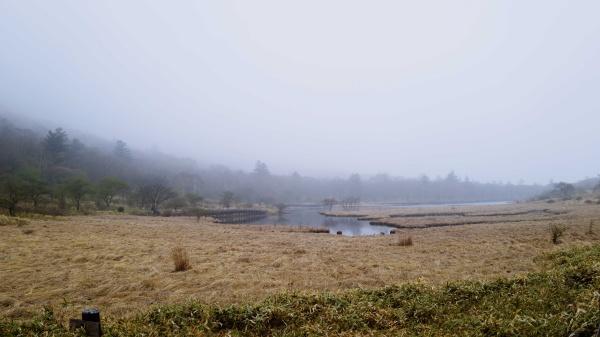 朝よりも霧が晴れた覚満淵
