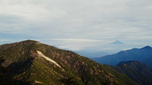 奥には富士山もうっすら。