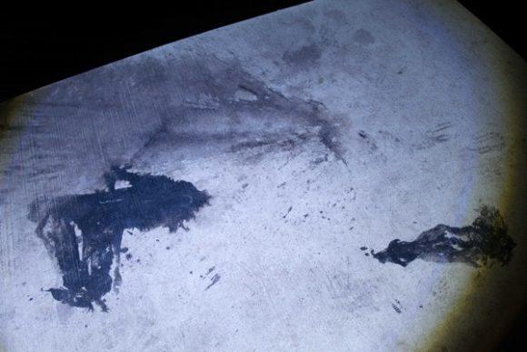 イカの墨跡があった。