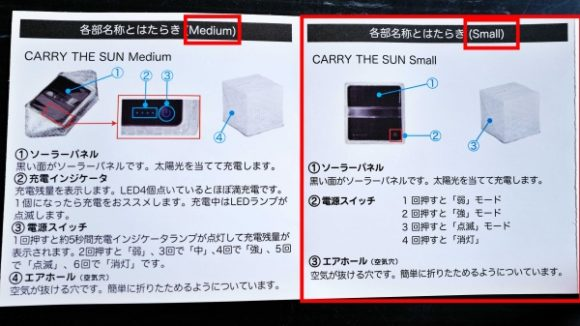 SサイズとMサイズで若干仕様が異なります。