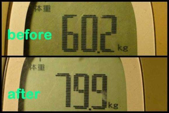 リュックを背負う前後の体重。過去最高に重いザック。