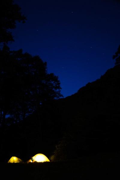 早朝の様子。静かなキャンプ場でした。