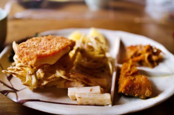 ハムカツチーズ、長芋、切り干し大根、かぼちゃの煮物など