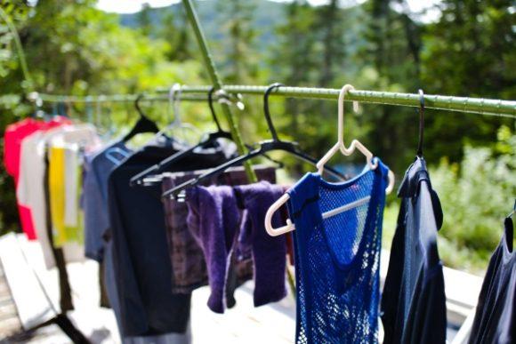 山小屋で洗濯するとワイルドな気持ちになるな。
