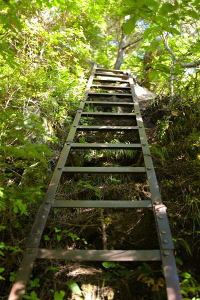 槍ヶ岳にあるような鉄梯子