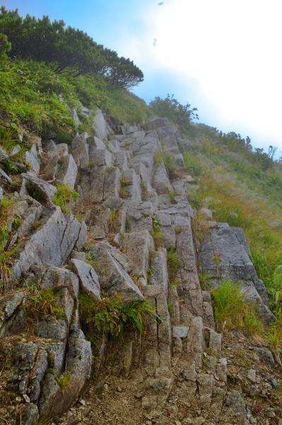 柱状節理っぽくなっている岩の上も進む。