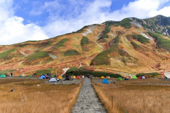 山小屋から撮影した雷鳥沢キャンプ場